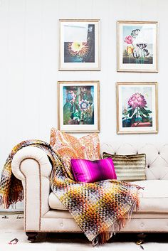 Home Tour: Inside a Colorfully Eclectic Family Home// chesterfield sofa, flower art