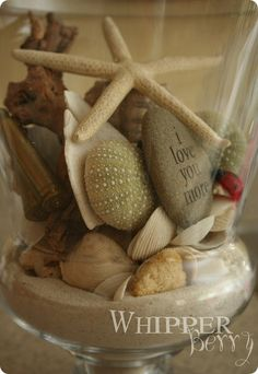 A memory jar with little treasures from special memory-filled adventures- a great idea to get jars at the dollar store and have as gifts to our guests that rent The Beach House!