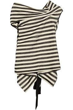 Roland Mouret|Alston striped ribbed-knit cotton-blend top|NET-A-PORTER.COM