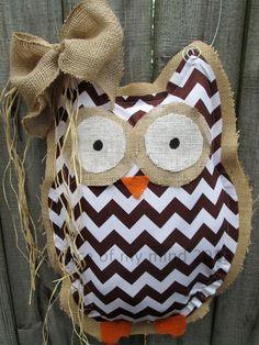 Owl Burlap Door Hanger Door Decoration Brown Chevron Pattern on Etsy, $28.00