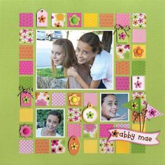 Great page - fun!  love the lime green and using up lots of scraps!