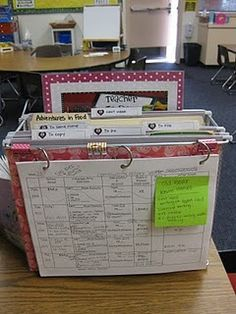 Make this immediately.  Desk organizer with files like To Copy, To File, To Pass Out... and a laminated To Do list!  Clip LPs on front!