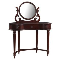 Empress Vanity Table: wood vanity in brown with three drawers and a center mirror.