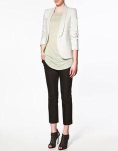 White Tuxedo-Style Blazer from Zara