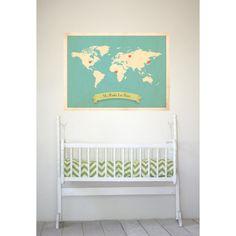 World Roots Map 18x24 Customized Print (Blue). $50.00, via Etsy.
