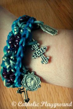 Catholic rainbow loom bracelet