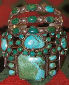 Uchizono Gallery: Vintage Native American Green Turquoise Rings And Bracelets