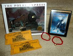 Polar Express night with the kids; golden tickets hidden with their pj's, jingle bell bracelets hidden at the bottom of popcorn tubs, the movie and the book. Such a cute idea!