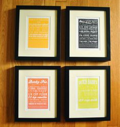 Cute idea for kitchen wall decorations - art print of favorite recipes.