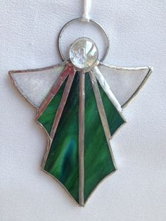 stained glass angel, green angel, stainglass, stain glass, glass ornaments, stained glass ornament