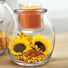 Bright and sunny!! Yellow sunflowers, orange brown jar candle, DIY fillers in clear glass vase. Clearly Creative™ Escential Jar Holder by PartyLite® Candles. SHOP HERE: http://www.partylite.biz/legacy/sites/nikkihendrix/productcatalog?page=productdetail&sku=P91532&categoryId=58289&showCrumbs=true