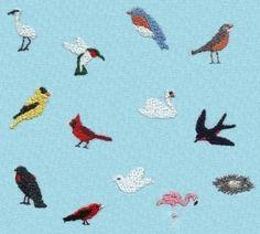 miniature bird embroidery designs crane hummingbird bluebird robin goldfinch cardinal swan swallow blackbird tanager dove flamingo nest