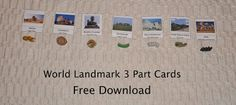 Free World Landmark 3 Part Cards from Expedition Montessori