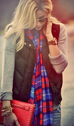 Adorable for fall flannel scarf, puffer vest and sweater