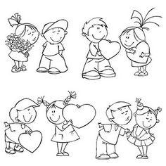 4 Free Digi Stamps | Valentine Kids