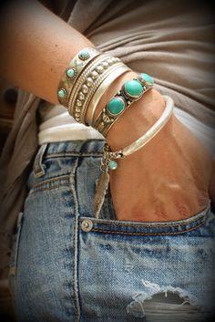 Boho Silver feather Turquoise bangle Bracelet