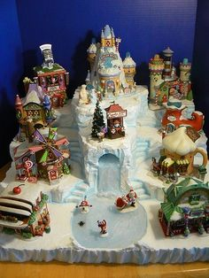 Custom miniature Christmas village display platform by nmitch1991, $100.00/ She makes custom displays for your Christmas village, can't wait until I have a Christmas village to buy a display for!