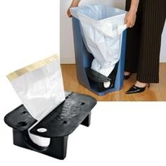 Garbage liner dispenser for the bottom of the garbage can! I love this, I am always putting extra bags in the bottom of the trash can.