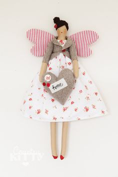 Fairy angel doll in white and red shades with little roses and stripe fabric