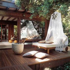 outdoor seating, outdoor beds, chaise lounges, outdoor living, dream, patio, deck, place, outdoor spaces