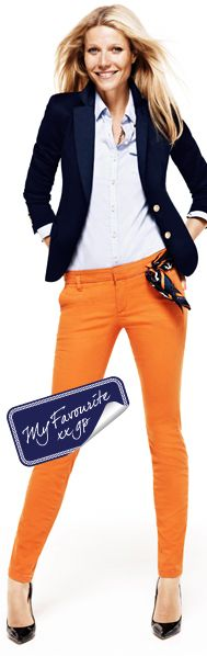 Orange, Light Blue, Navy Blue Outfit