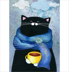 Awesome coffee drinking cat!
