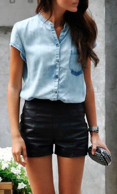 style, leather short, leather skirts, high waisted shorts, denim shirts, summer outfits, leather pants, denim shorts, black