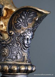 detail of silver gilt german claret jug 1880