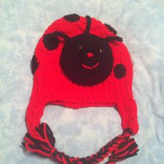 Lady bug beanie toddler size