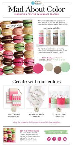 Color palette Inspiration from @Martha Stewart Living with #marthastewartcrafts paint - click for project instructions on the confetti glasses, monogrammed napkins and notebooks and to shop the macaron inspired paint set #crafts #diy #color #green #pink #colorpalette #plaidcrafts #marthastewartcrafts