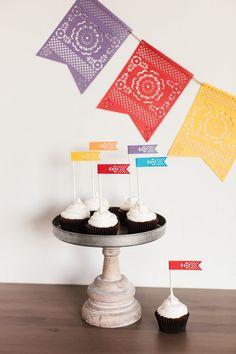 Cinco de Mayo Banner + Cupcake Flags