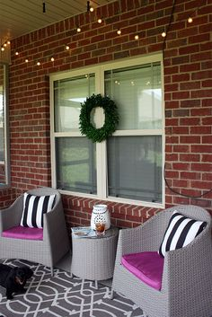 Porch Decorating Ideas with string lights!