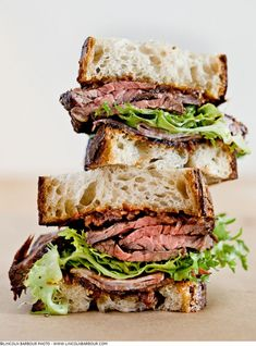 Grilled Hanger Steak + Applewood Smoked Shoulder Bacon Sandwich With Frisee + Red Onion Jam