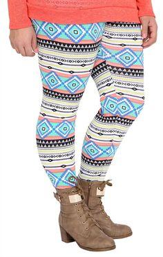 Deb Shops Plus Size #Neon Stripe Tribal Print #Legging