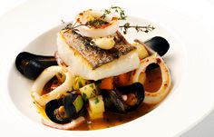 Cornish salt pollack, squid and mussel stew