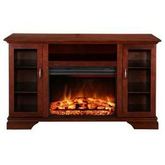 Hampton Bay Asbury 57 in. Media Console Electric Fireplace in Cherry-MTVS2500SBCH at The Home Depot