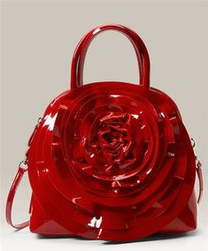 Valentino Red Rose Patent Leather Purse