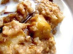 Perfect weekend breakfast!! Dump 2 sliced apples, 1/3 cup brown sugar, 1 tsp cinnamon in the bottom of the crock pot. Pour 2 cups of oatmeal and 4 cups of water on top. Do NOT stir. Cook overnight for 8 - 9 hours on low. I omit the sugar and salt, use 1 cup vanilla almond milk and 3 cups water.