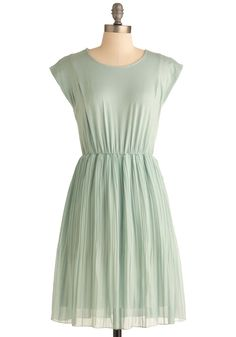 Juniper Your Request Dress - Mid-length, Green, Solid, Pleats, Casual, Sheath / Shift, Cap Sleeves, Spring