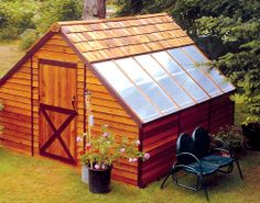 Storage shed with partial greenhouse roof.