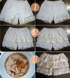 sew, idea, craft, cloth, short de, diy faça, short tutori, lace shorts
