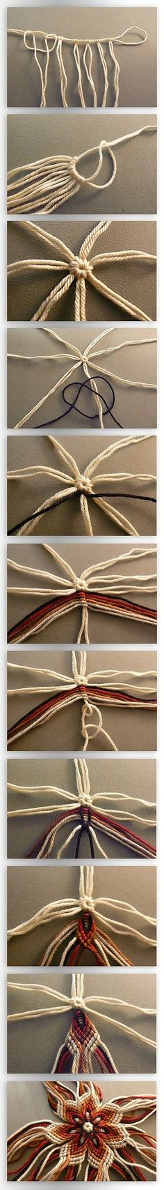 i really wanna do this except in different colors. it's the friendship bracelets x7 = a flower.