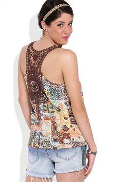 Deb Shops Tribal Print Tank Top with Crochet Back $16.00