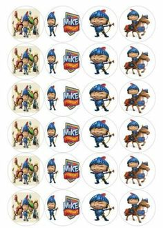 Edible Cake Toppers Mike The Knight A4 Round 7 5 or Cupcake Special Offers | eBay