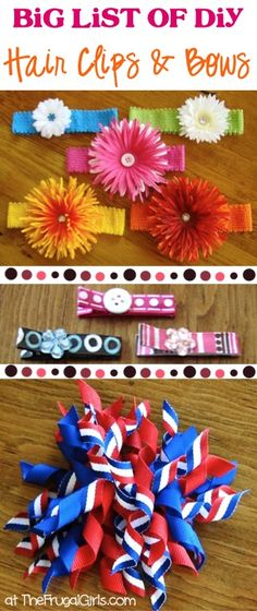 BIG List of DIY Hair Clips and Bows! ~ from TheFrugalGirls.com ~ you'll love these fun ideas, ribbon hair clip tutorials, and storage holder tips! #thefrugalgirls