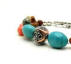 Turquoise Bohemian Beaded Bracelet with Sterling Silver  / Boho / Gemstone / Tribal / Southwest / Handmade by Artist