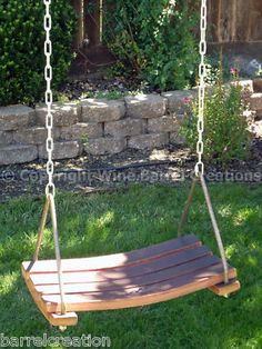 oak wine barrel Stave Swing with Chain/ wood tree swing    Sold by barrelcreation on ebay!  Great seller!  Have bought staves from in the past.  Excellent seller!!!!