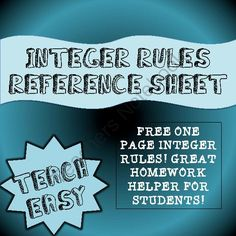 INTEGERS REFERENCE NOTES from Teach Easy on TeachersNotebook.com -  (1 page)  - This is a quick reference guide with rules and a number line for students to use when they are working on integers.  Thank you for your business! Please do not forget to rate my products!