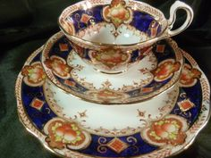 Royal Albert Crown Tea Cup and Saucer Trio Cobalt Fruit Extreme Gold C1917