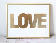 Small Gold Love Print